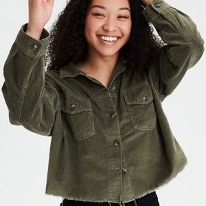 Corduroy cropped button up shirt